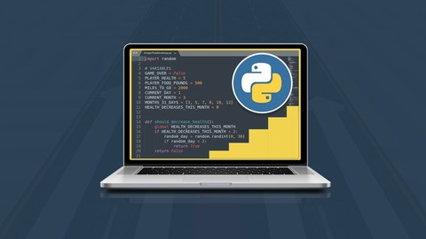 Beginner to Expert Python.Start from the basics and go all the way to creating your own applications and games!